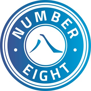 Number Eight logo blauw verloop